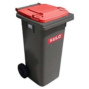 Cubo de basura 2 ruedas, contenedor a basura SULO 120 litros gris con tapa rojo (22159)