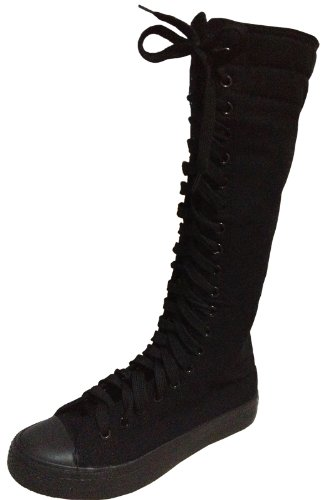 Punk Womens girls fashion knee high canvas boots shoes Sneakers + 5 color laces (3, Black)