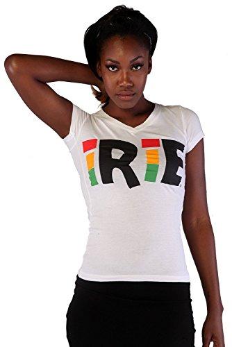 Cooyah Cotton T-Shirt Irie Print Casual White Black Summer Fashion Rasta Tee