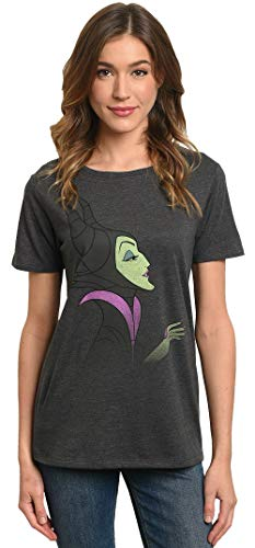 Disney Women's T-Shirt Maleficent Print Villain (Charcoal, X-Large)]()