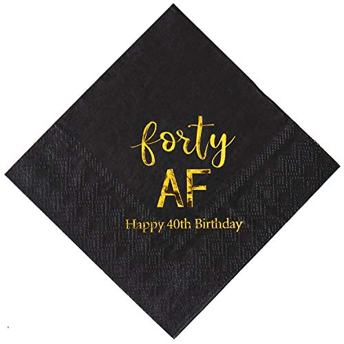 Crisky 40th Birthday Napkins Black Gold Forty AF 40th Birthday Cocktail Napkins Beverage Napkins 40th Birthday Party Candy Table Decoration, 50 Count, -