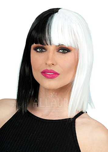 ALLAURA Sia Black White Wig | Bob Halloween Costume Cosplay | Fits Women & Kids - Dolls Kill Halloween Costumes