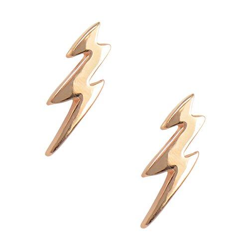 Paialco 925 Sterling Silver Lightning Bolt Stud Earrings, Rose Gold - Gold Bolt