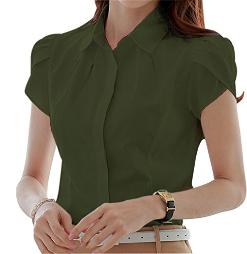 Double Plus Open Women's Cotton Collared Button Down Shirt Short Sleeve Pleated Blouse Army Green - Design Double Pleated
