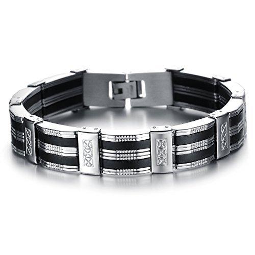 JuliesDeal Fashion Jewelry 3mm Men Rubber Motorcycle Bike Link Chain Bracelet Black Silver Tone 8.26 Inch