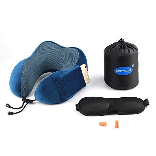 Ergonomic Travel Neck Pillow Set | Flight Kit Includes Eye Mask, Earplugs & Carry Bag | Memory Foam U Cushion Head/Neck Support | Anti-Sweat Cover with Magnetic Therapy Fabric | Cellphone Side Pocket (Cell Flight)