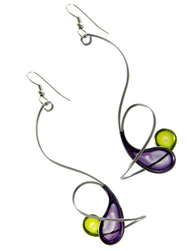 Kinetic Sculpture Inspired Stainless Steel Art Earrings, Purple Green Orbit