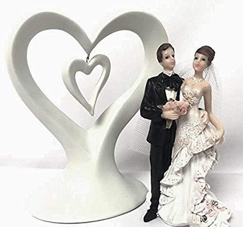 Wedding Cake Topper Bride and Groom White Heart Centerpiece 2 Piece