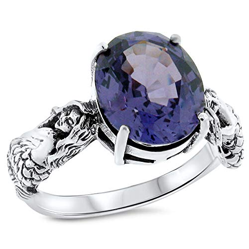 Mermaid Color Changing LAB Alexandrite 925 Sterling Silver Ring SZ 6 KN-1847
