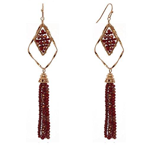 Women's Geometric Glass Bead Dangle Tassel Fashion Pierced Earrings, Dark Red/Gold-Tone -
