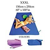 Ultra Compact Soft Microfiber Yoga, Sport and Travel Towel - Super Absorbent and Quick Drying - Camping, Yoga, Swimming, Beach, Gym, Golf, Bath - FREE Storage Bag