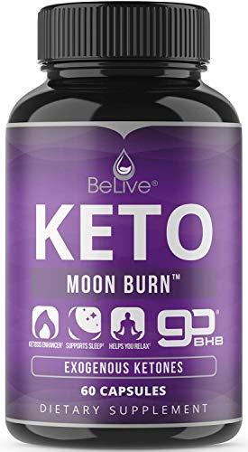 BeLive Keto Pills for Nighttime | Patented 2000MG BHB Formula Diet Pill with Pure Beta-Hydroxybutyrate (goBHB) Exogenous Ketones & Avocado Powder, 60 Caps