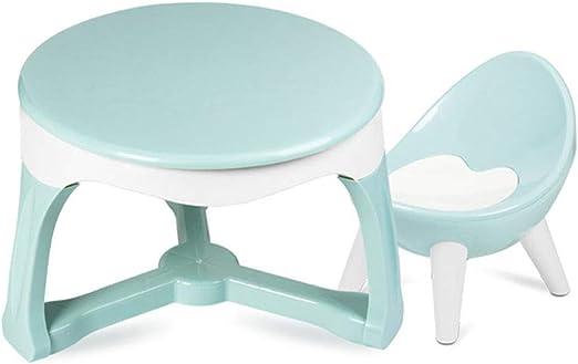ZH Juego de Mesa y Silla para bebés de 1 a 3 años para niños y niñas, niños pequeños, Mesa de Comedor Redonda de plástico y sillas cómodas, para Interiores y Exterior: