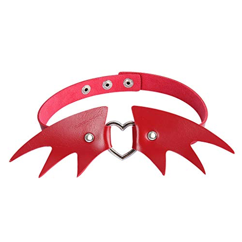 Gothic Choker Collar PU Leather Necklace Halloween Evil Bat Wing Heart Charm Necklace Jewelry Crafting Key Chain Bracelet Pendants Accessories Best| Color - Red -