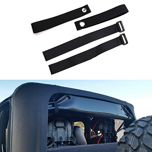 BOXATDOOR Durable Tie Down Straps Soft Top Straps for 2007-2018 Jeep Wrangler JK £¨4 pack£