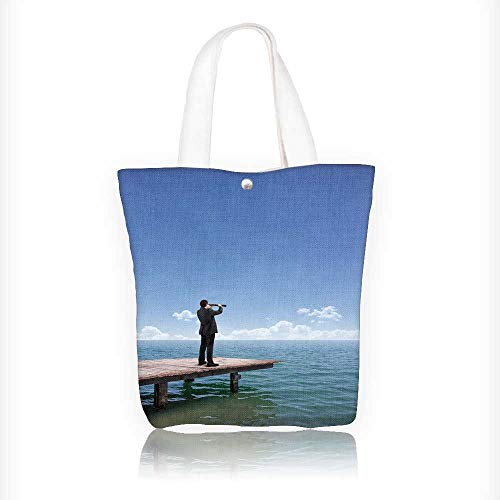 (Ladies canvas tote bag man look out to sea with a telescope reusable shopping bag zipper handbag Print Design W16.5xH14xD7 INCH)