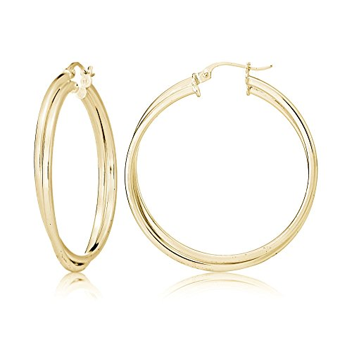 (Gold Flash Sterling Silver Square-Tube Double Twisted 37mm Round Hoop Earrings)