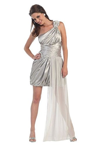 Women Fabulous Sexy One Shoulder Prom Homecoming Special Occasion Dress Silver S