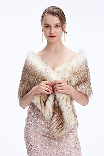 Decahome Wedding Faux Fur Wraps and Shawls Wedding Bridal Stole for Brides and Bridesmaids White/Brown Raccoon Fur