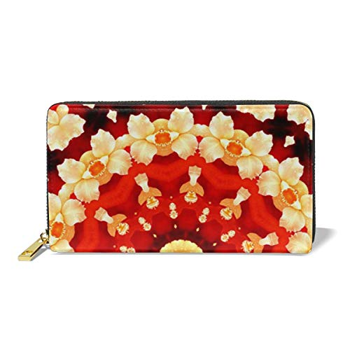 Poream Abstract Art Background Orchid Kaleidoscope Customized Leather Zipper Printed Clutch Bag Wallet Card Large Capacity Long Purse For Women