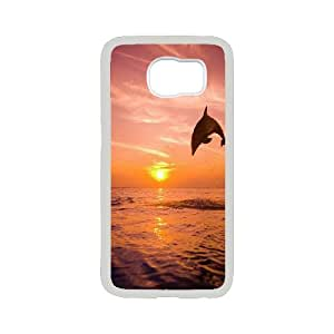 Drawing art Cute dolphin Hard Plastic phone Case Cover For Samsung Galaxy S6 JWH9110199