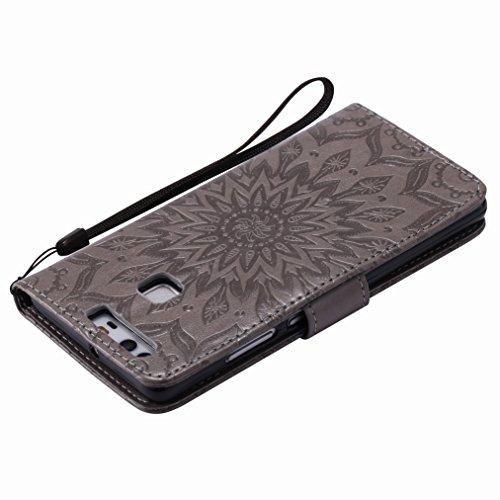 Yiizy Huawei P9 / EVA-L09 / EVA-L19 / EVA-L29 Custodia Cover, Sole Petali Design Sottile Flip Portafoglio PU Pelle Cuoio Copertura Shell Case Slot Schede Cavalletto Stile Libro Bumper Protettivo Borsa