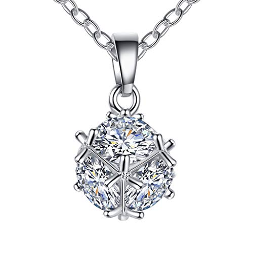 Solitaire Necklace, Snowfoller Zirconia Necklace for Women Imitation Diamond Clear Crystal Pendant Necklace(Silver)