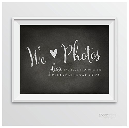 Andaz Press Wedding Party Signs, Vintage Chalkboard Print, 8.5-inch x 11-inch, We Heart Photos, Please Tag Your Photos, 1-Pack, Custom Made Any (Rustic Heart Table D Cor)