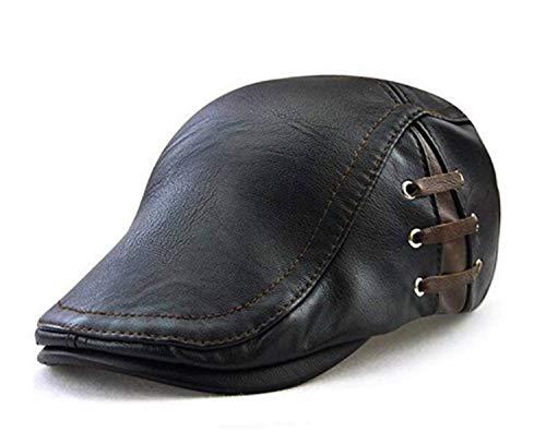 MOTINE Men's Vintage Newsboy Cap Genuine Leather Ivy Flat Cap Cabby Hat Driving Cap ()