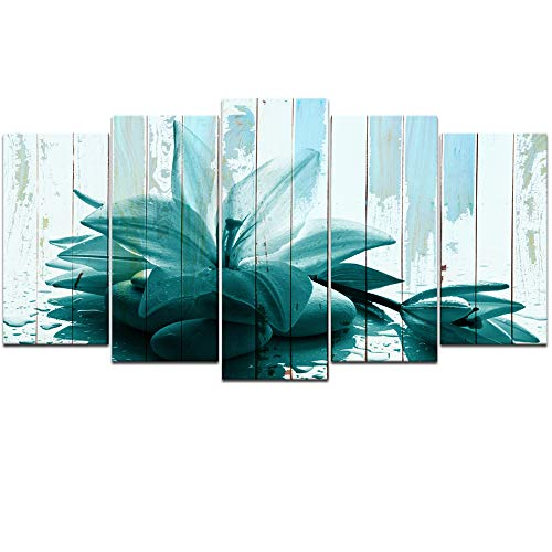 Visual Art Decor Large L-60 x H-32 Flowers Picture Wall Art Teal Lily Zen Stone Giclee Prints Rustic Floral Wall Decoration Living Room Ready to Hang (5 Pieces) - Lily Floral Art