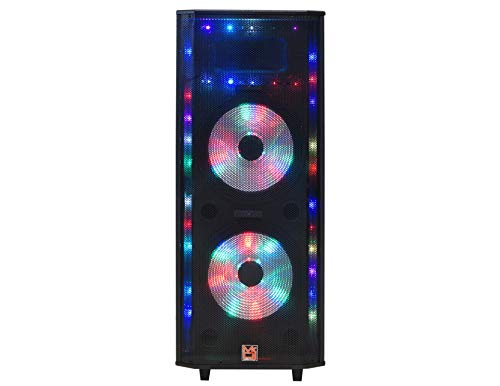 """Mr. Dj Master 5200 Dual 15"""" 3-Way Portable Speaker with Built-in LED Light, Bluetooth, USB/SD FM Radio Tuner with 2 Wired Microphones 5500 Watts p.m.p.o (MASTER5200"""
