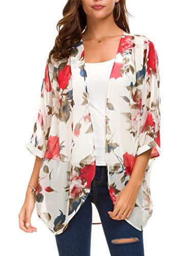 Floral Chiffon (Taydey Women's Sheer Chiffon Blouse Loose Tops Kimono Floral Print Cardigan(Red Flower L))