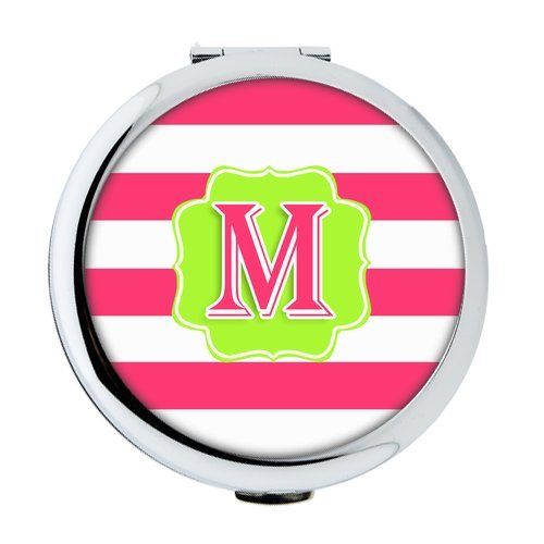 iFUOFF Compact Makeup Mirror, Custom Hot Pink Stripes Flourish Glitter Initial Pattern - Monogram Personalized Defender Round Ultra-thin 0.8cm Compact Makeup - Flourish Stripe