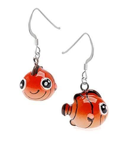 3-D, Hand Painted, Resin, Orange Angelfish Earrings, Qty: 1pair