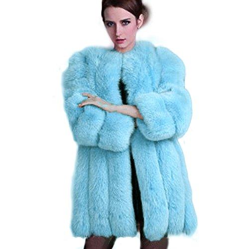 Manka Vesa Womens Winter Faux Fox Fur Plus Size Thick Long Jacket Warm Parka Coat Sky Blue - Blue Fox Fur Coat Jacket