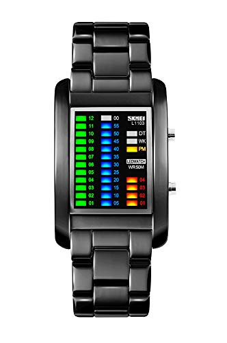 FunkyTop Men's Stainless Steel Binary Matrix LED Digital Waterproof Watch Creative Army Military Black Plated Wrist - For Men Watches Binary