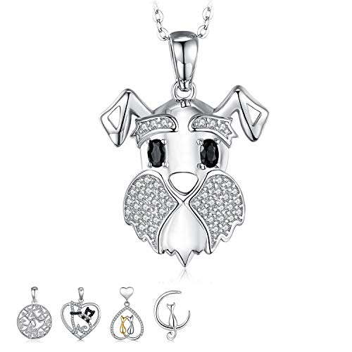 JewelryPalace Schnauzer Terrier Dog Puppy Pet Lover Genuine Black Spinel Pendant Necklace 925 Sterling Silver 18 Inches Box Chain