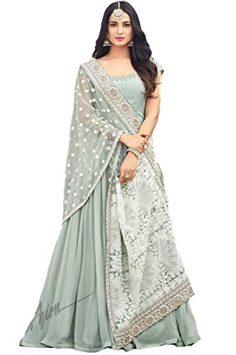 Indian Wear & Ethnic Wear Long Anarkali Salwar Sky Blue Salwar Kameez 5503 (XL-44) by Delisa