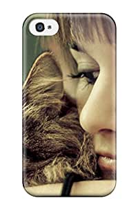 Hot Design Premium DnanZnC10324MzkCK Tpu Case Cover Iphone 4/4s Protection Case(cat And Girl)
