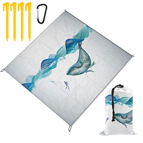 Rachel Dora Underwater Whale Illustration Picnic Blanket Foldable Waterproof Set with Drawstring Bags Custom Portable Mat for Outdoor Camping Hiking Travelling Festival Beach BBQ 78 x 57 inch ()
