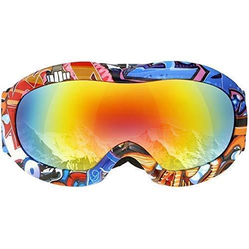 VELLAA Lunettes de Ski, Anti-buée Lunettes de Ski OTG, Protection UV 400 lentille d'anti-éblouissement, Sport d'hiver Adultes Homme Femme, Mousse Anti-dérapante à 3 Couches
