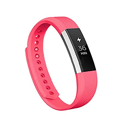 Vancle Fitbit Alta Bands, Newest Adjustable Replacement Bands for Fitbit Alta/ Fitbit Alta band/ Fitbit Alta Bands (with Metal Clasp,No Tracker)(Red,Small)
