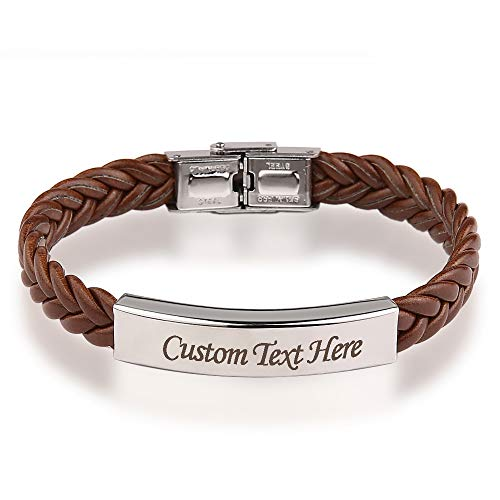 GAGAFEEL Leather Classic Braided Rope Bracelet Custom Engraved Message Stainless Steel Bangle Unisex Gift