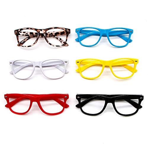 WSSROGY Set of 6 Kids Cute Glasses Frame Nerdy Retro Eyeglasses Frames Without Lenses Children Stylish for Birthday Halloween Costume Party Favors