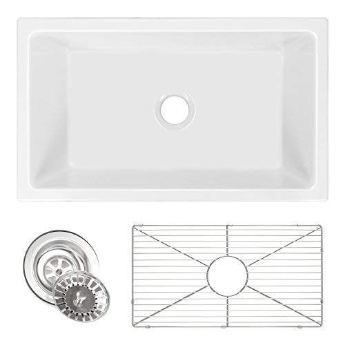 ZUHNE Ostia 30 Inch White Farmhouse Apron Single Bowl Fireclay Reversible Kitchen Sink With Grid Protector and Strainer
