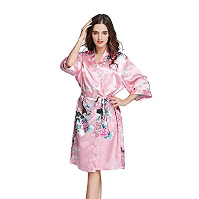 Acemi Women's Sleepshirt 3/4 Sleeves Nightgown Kimono Robe Nightshirts Pajama Sleepwear S-XL