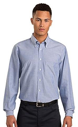 Ed Garment Men's Oxford Button Down Fit Long Sleeve Shirt, TRUE BLUE, Medium 35 - Edwards Button Down Oxford Shirt