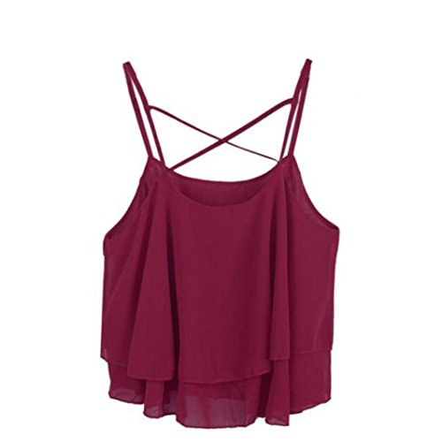 Price comparison product image Ankola Tank Tops,  Women's Sexy Summer Back Crisscross Crop Top Camisole Shirt Vest (Wine,  One-Size)