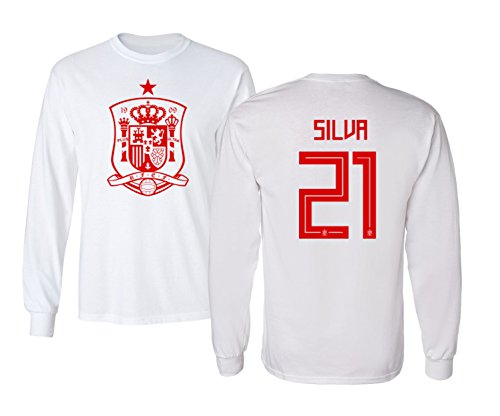 National Soccer Championships - Tcamp Spain 2018 National Soccer #21 David SILVA World Championship Boys Girls Youth Long Sleeve T-Shirt (White, Youth Small)