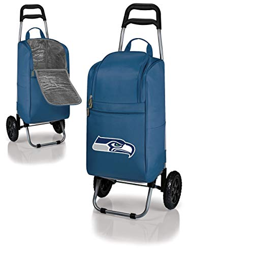 MISC 2 Piece Blue White NFL Themed Cart Cooler, Seattle Seahawks Beer Bag, Navy Blue Grey Brown NFC Folding Trolley Portable Ultra Durable Football Logo Gift Tailgate Beverage Bag Sports, Polyester